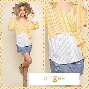 Umgee Faux Layered Button Up Wrap Top W/Side Ties